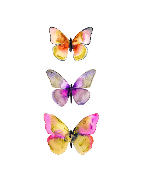 570x726 Watercolor Butterfly Poster. Pink Purple Watercolor Butterfly