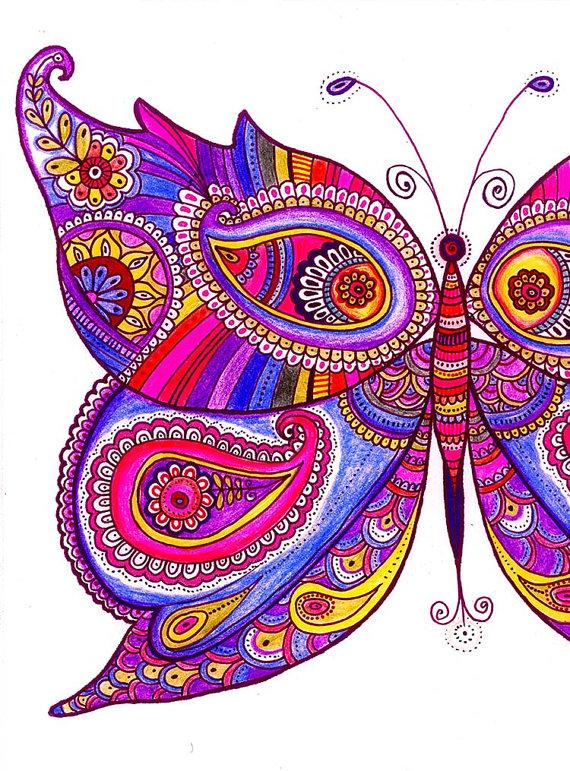 570x771 Zentangle Butterfly Drawing Paisley Trippy Art Digital