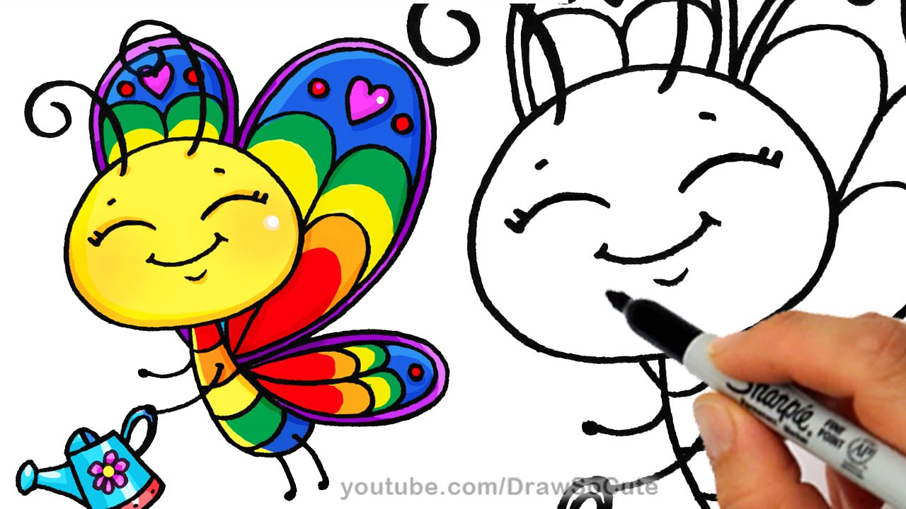 1280x720 How To Draw A Cartoon Butterfly Cute Step By Step Rainbow Colors
