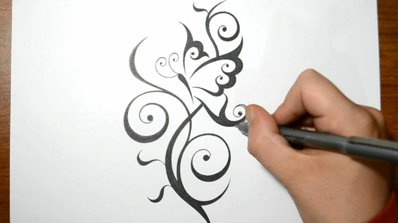 1280x720 Creating A Cool Butterfly Tattoo Design With A Swirly Stem