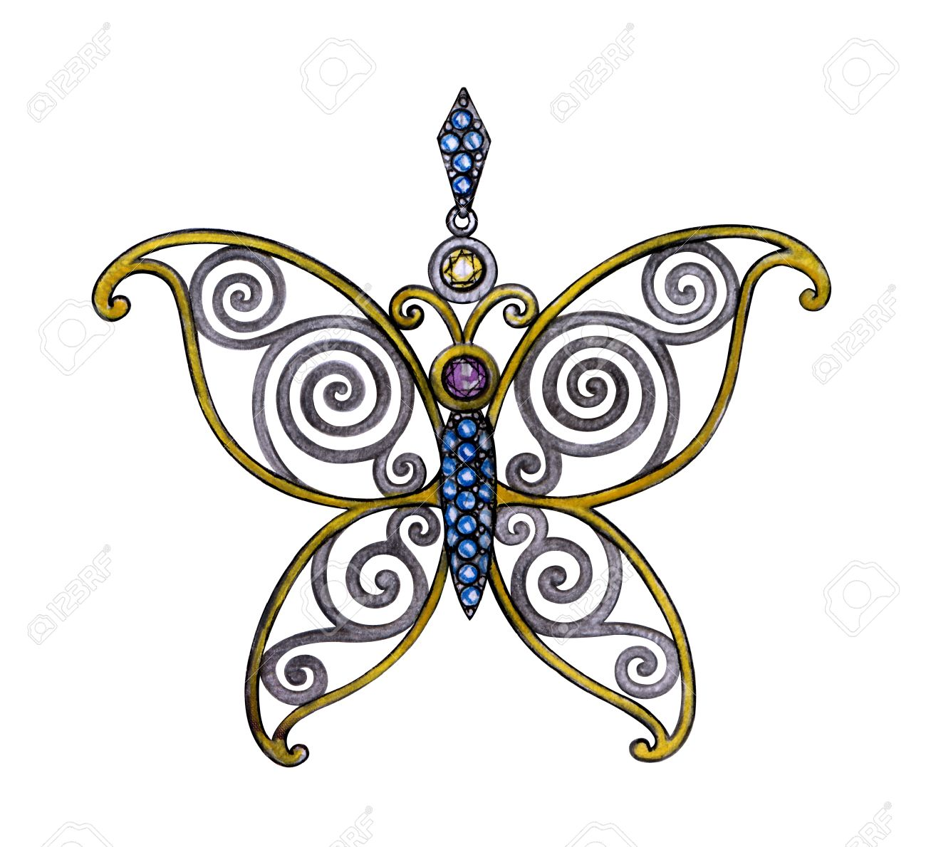 1300x1190 Jewelry Design Butterfly Mix Vintage Pendant. Hand Drawing