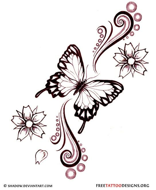 544x663 Tattoo Ideas Tattoo Sketches Butterfly Tattoo Designs Flower