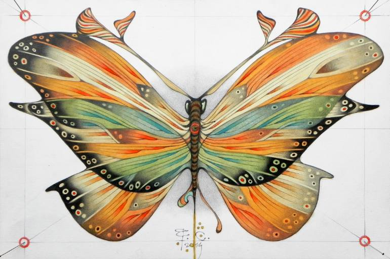 770x512 Saatchi Art Butterfly Drawing By Federico Cortese