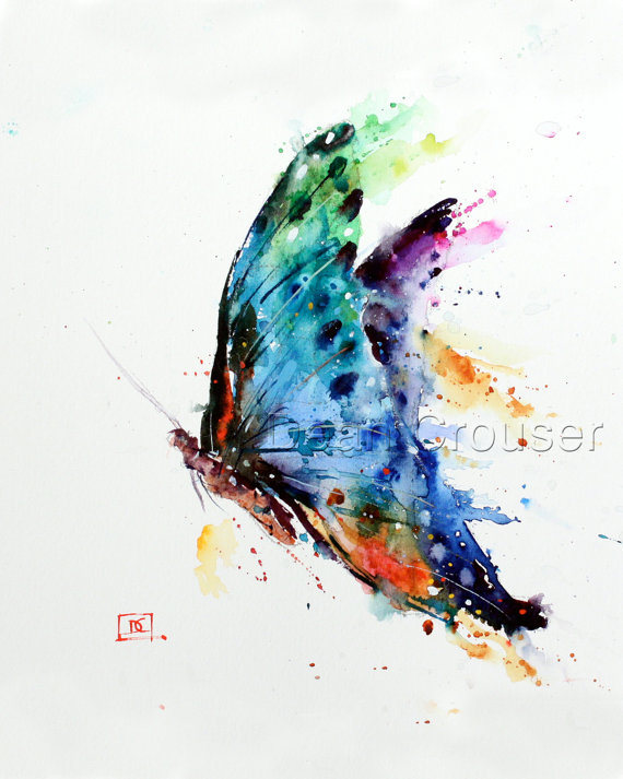 570x713 Butterfly Watercolor Art Print Butterfly Painting By Dean