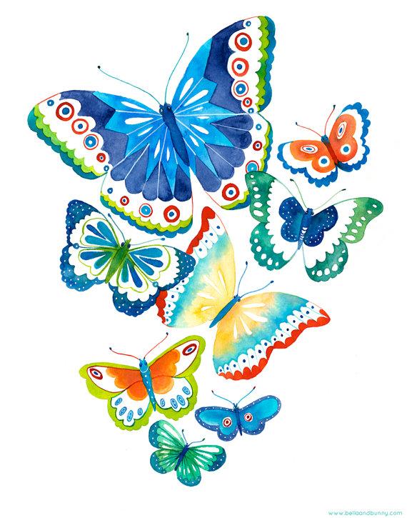 570x725 Butterfly Art Print Spring Flutter By Bellaandbunny On Etsy