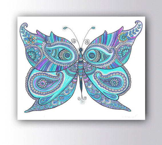 567x508 Butterfly Drawing Painting Large Art Canvas Print Christmas