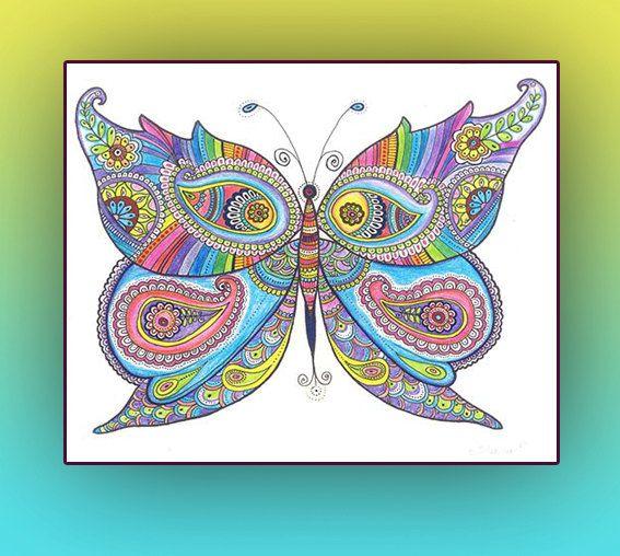 567x508 Butterfly Original Zentangle Art Drawing Rainbow By Dhanadesign