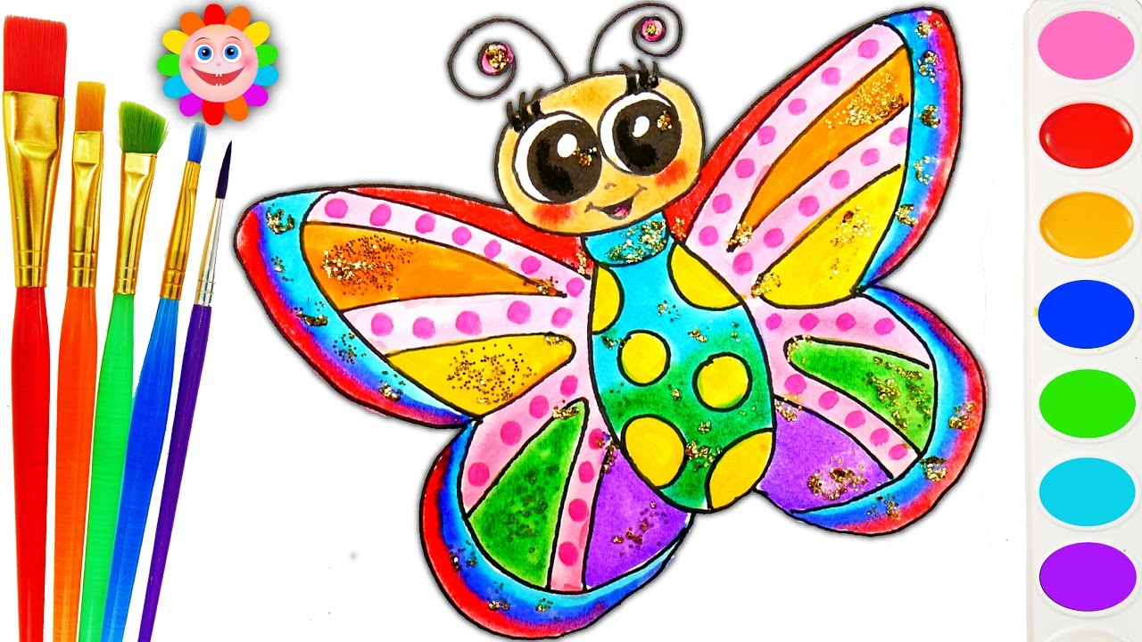 1280x720 How To Draw Rainbow Butterfly Drawing Coloring Page For Children
