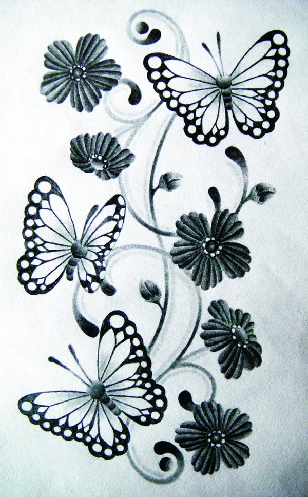 600x968 Butterfly Drawing By Red Flash Art