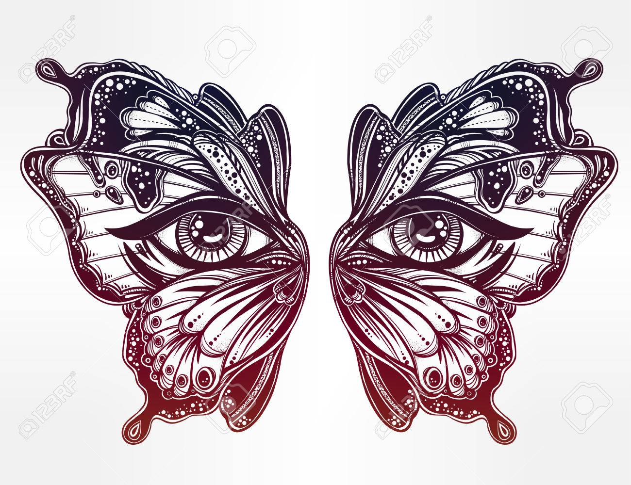 1300x1000 Beautiful Butterfly Wings Mask With Eyes In Retro Flash Tattoo