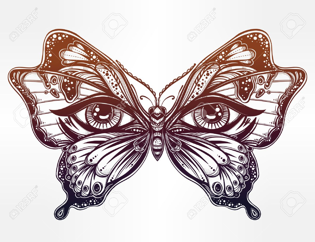 1300x999 Beautiful Butterfly Wings With Human Eyes In Retro Flash Tattoo