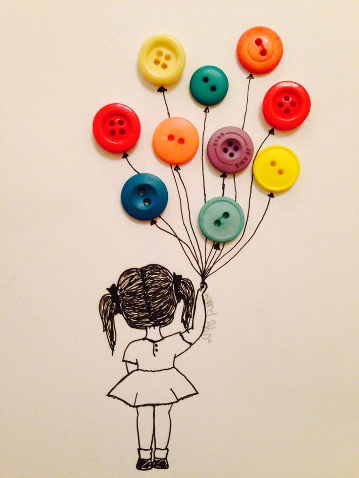 736x981 Drawing Of A Little Girl Holding Balloons (Buttons) Random Stuff