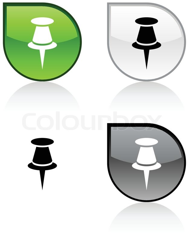 622x800 Drawing Pin Glossy Drop Vibrant Buttons Stock Vector Colourbox