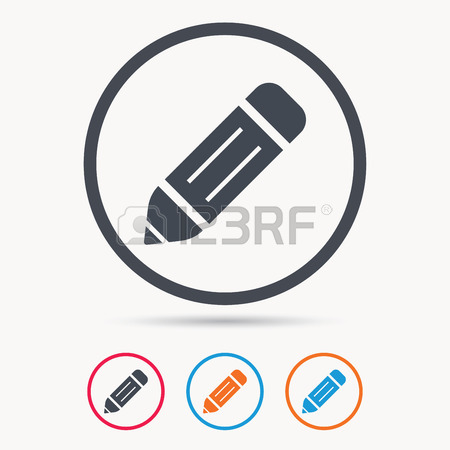 450x450 Edit Icon. Pencil For Drawing Symbol. Colored Circle Buttons