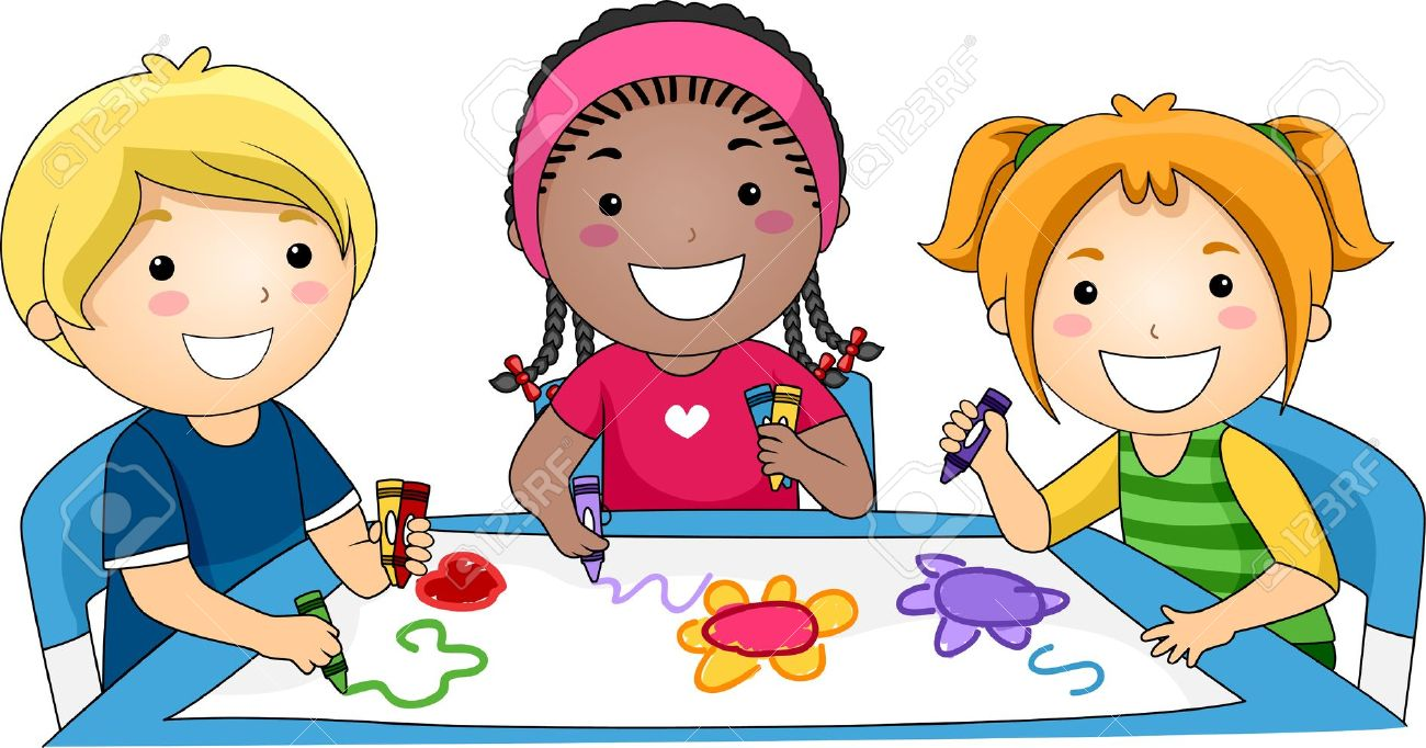 1300x682 Illustration Of Kids Drawing Stock Photo, Picture And Royalty Free