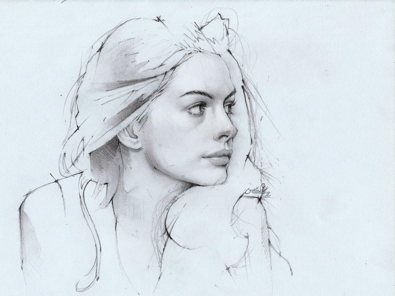 1280x960 Anne Hathaway, Pencil Drawing Photoimage By Aninditowisnu Fliiby