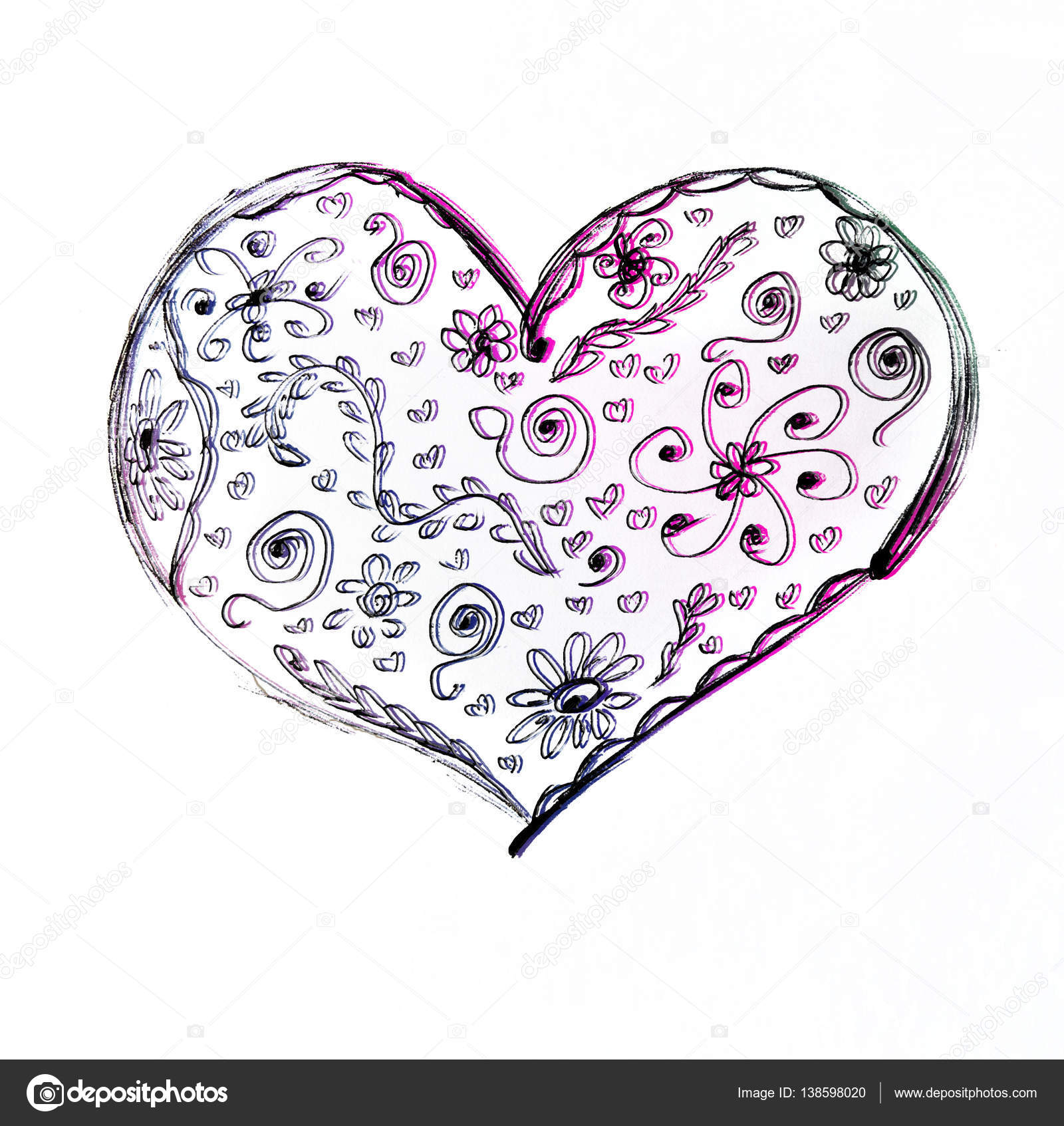1600x1693 Love Heart Card. Pencil Drawing Sketch Heart Icon Isolated Over