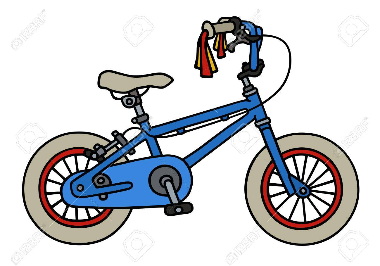 1300x910 Hand Drawing Of A Blue Child Bike Royalty Free Cliparts, Vectors
