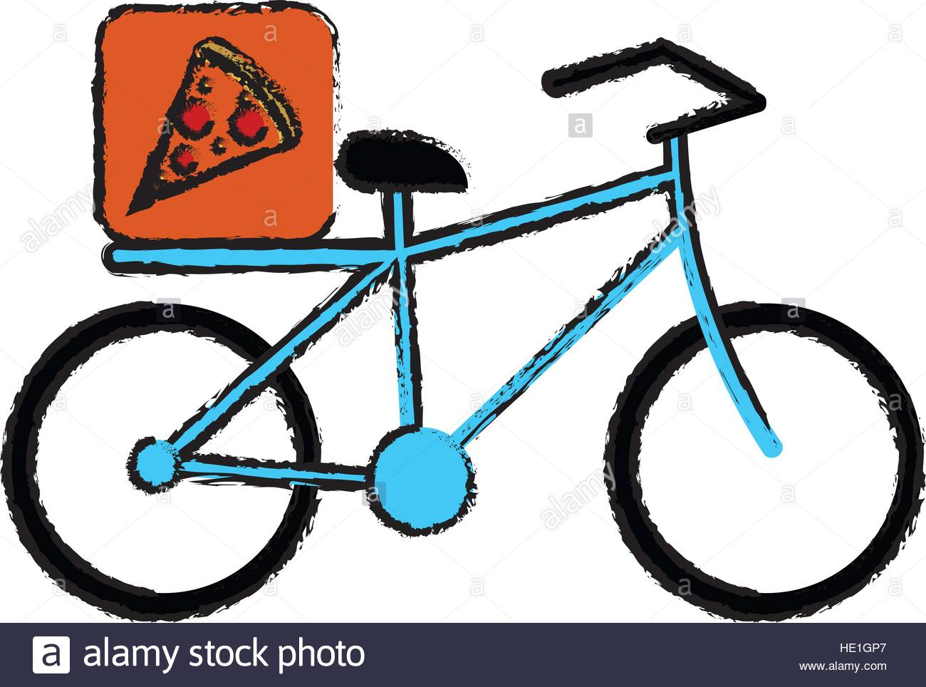 1300x964 Blue Pizza Food Delivery Bicycle Drawing Stock Vector Art