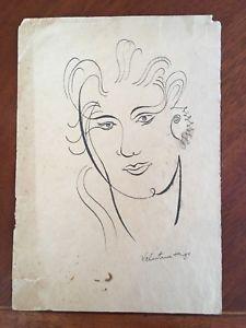 225x300 Original Pen Ink Drawing Portrait Signed Valentine Hugo Surrealism