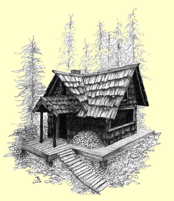 600x692 Little Old Log Cabin