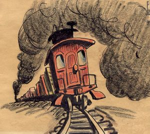 300x269 A Drawing An Unhappy Caboose Rattling Along Under A Cloud