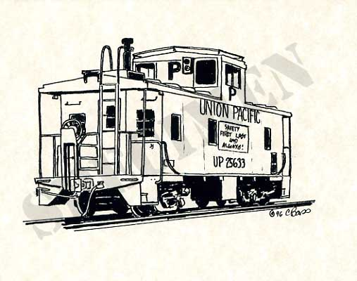 507x400 Craig's Railroad Pages Railroad Art Union Pacific Caboose