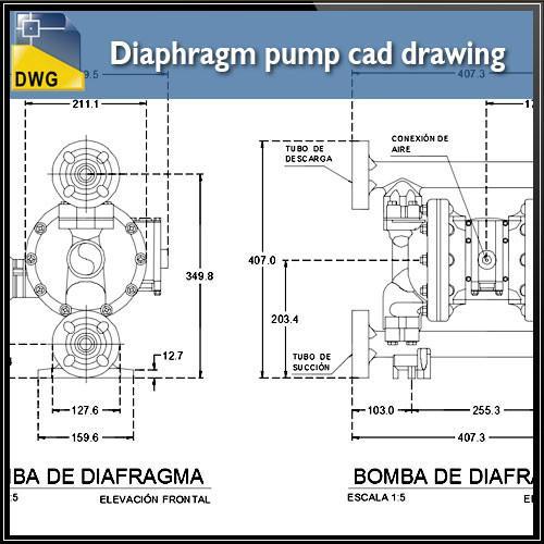 500x500 Diaphragm Pump Cad Drawing In 2d Cad Design Free Cad Blocks