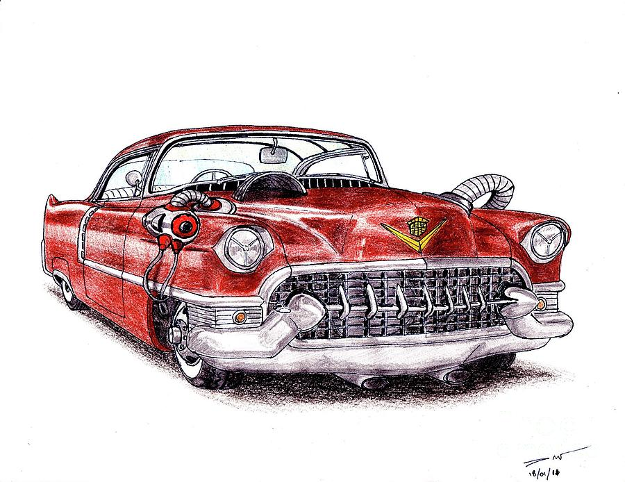900x694 1955 cadillac series 62 drawing by dan poll