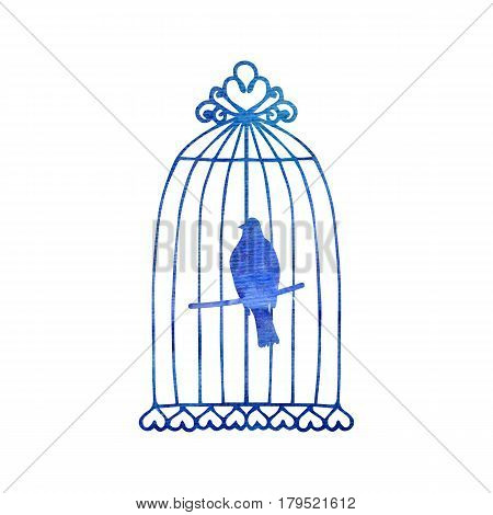 450x470 Parrot Cage Drawing By Watercolor, Image Amp Photo Bigstock