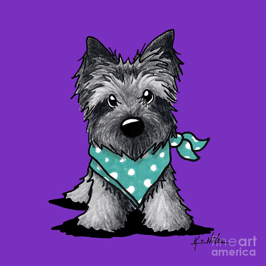 900x900 Ash Cairn Terrier In Dots Drawing By Kim Niles