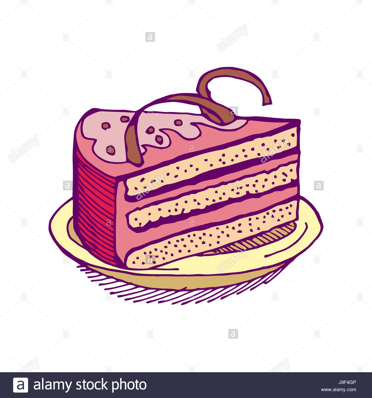 1300x1390 Piece Of Cake Hand Drawing. Pie Isolated. Dessert On White Stock
