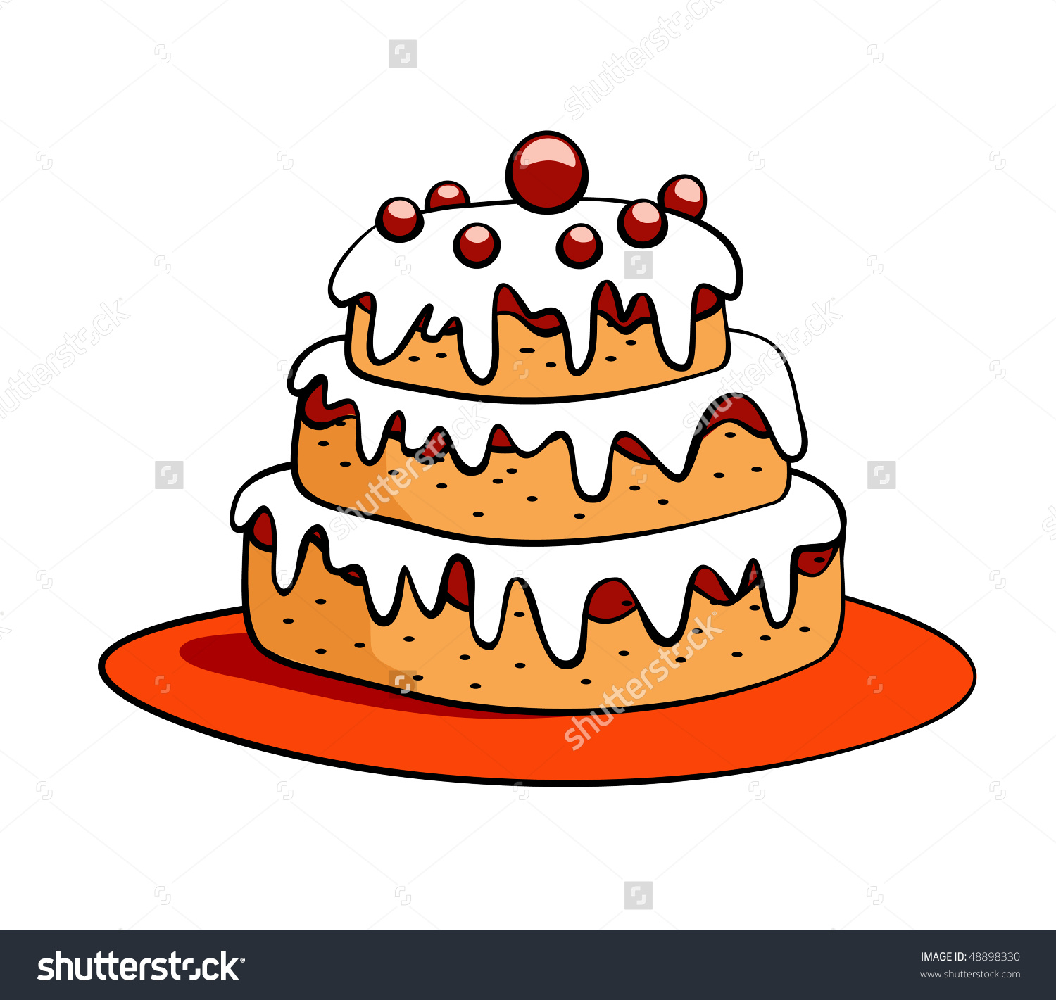 1500x1421 Cartoon Cake Drawing Cartoon Cake Drawing On Plate Stock Vector