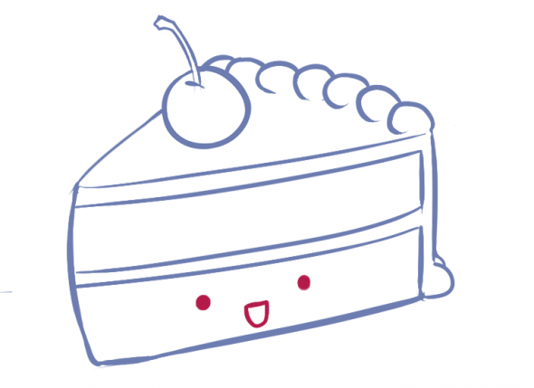 590x429 How To Draw A Kawaii (Cute) Cake Slice Cake, Kawaii And Drawings