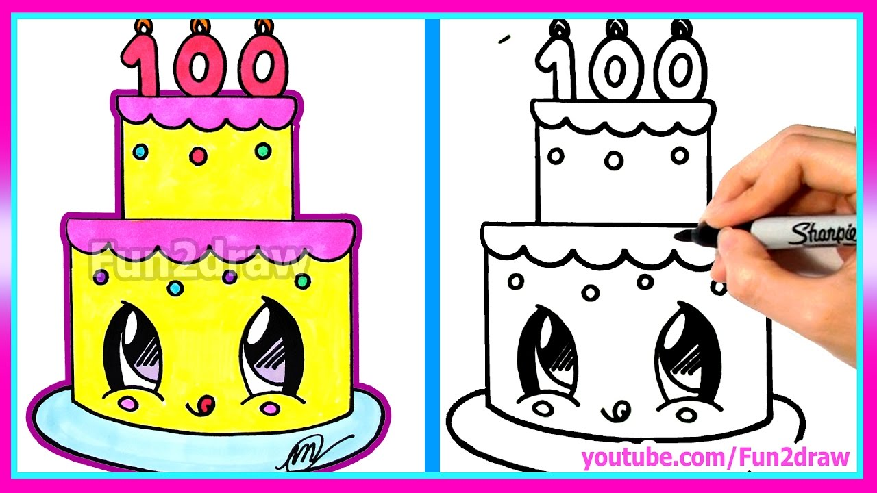 1280x720 How To Draw and Color a Cute Cake Easy
