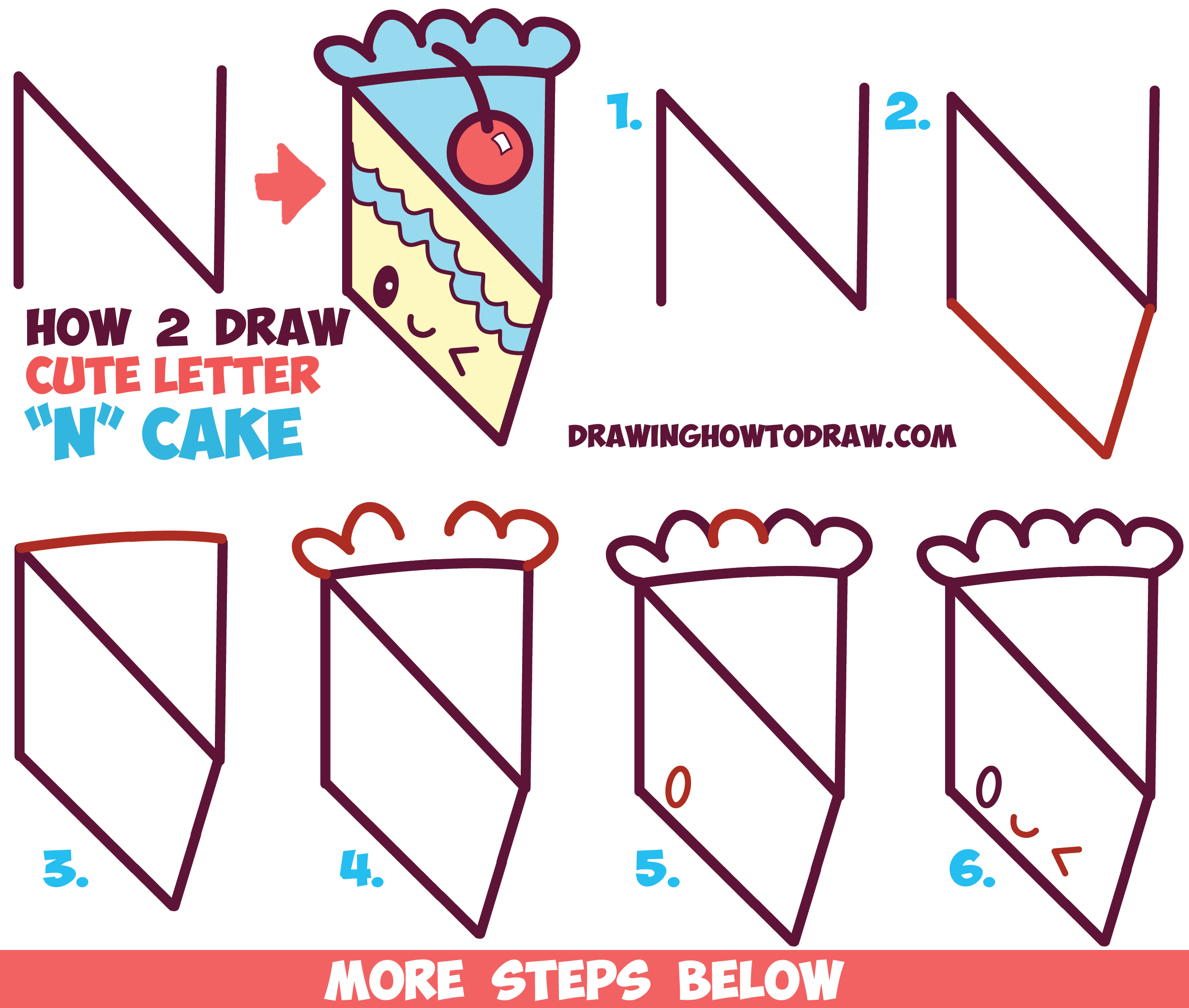 2457x2084 How to Draw a Cute Kawaii Piece of Cake with a Face on it from the
