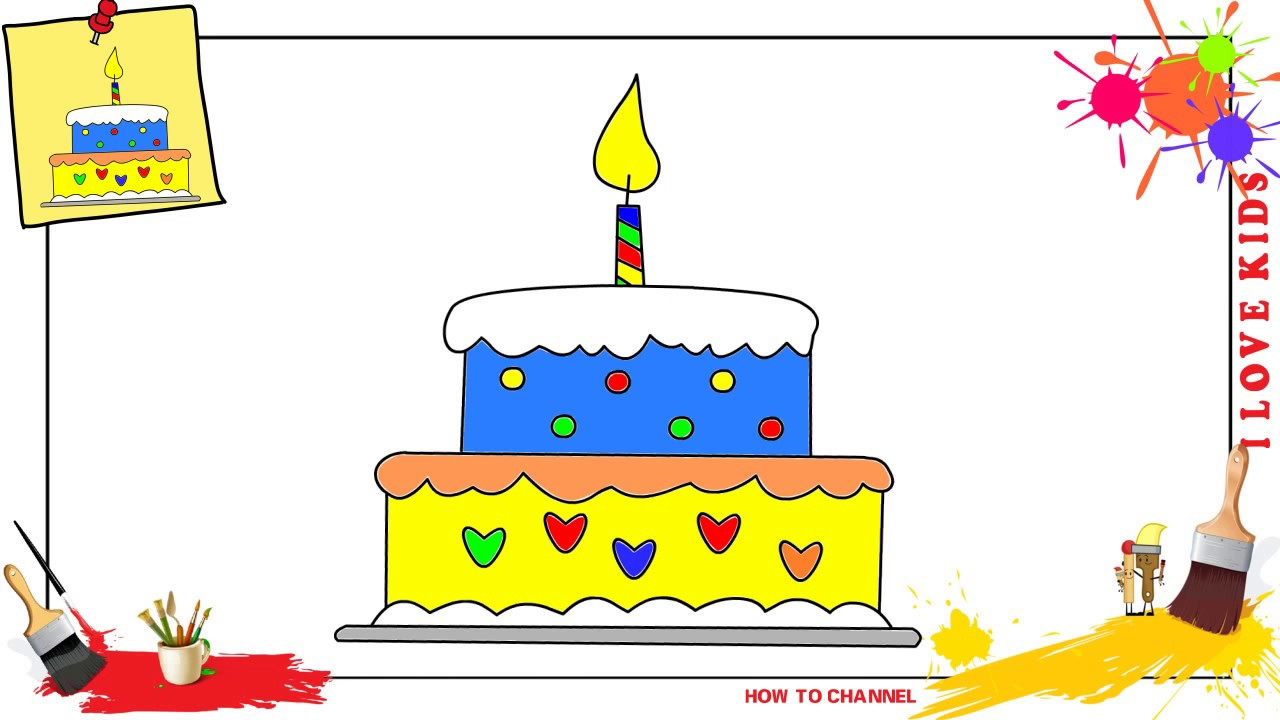 1280x720 How to draw a birthday cake SIMPLE, EASY amp SLOWLY step by step for