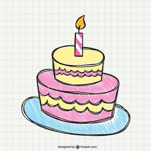 626x626 Birthday cake drawing Vector Free Download