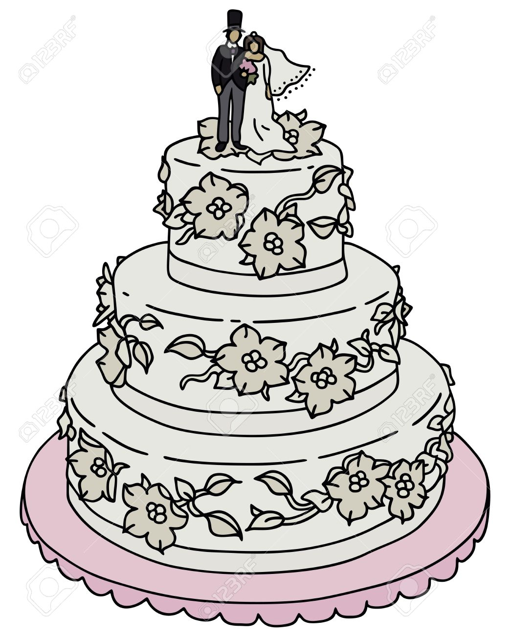 1041x1300 Hand Drawing Of A Wedding Cake Royalty Free Cliparts, Vectors, And