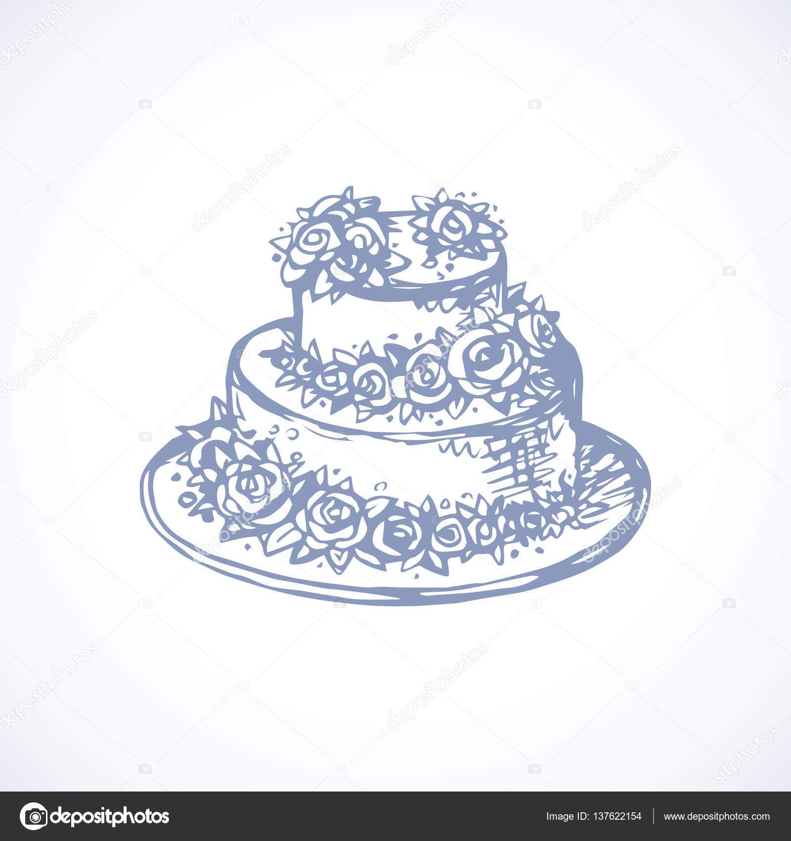 1600x1700 Cake. Vector Drawing Stock Vector Marinka