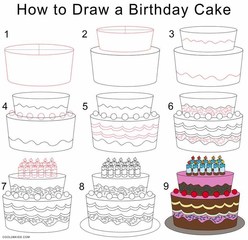 800x773 How To Draw A Birthday Cake How To Draw A Birthday Cake Step Step