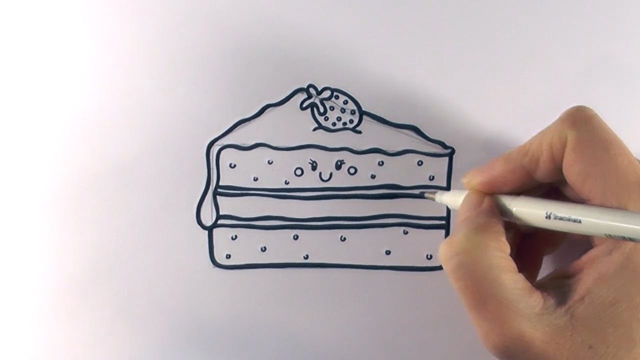 1280x720 How To Draw A Slice Piece Of Cake On Paper Step By Step