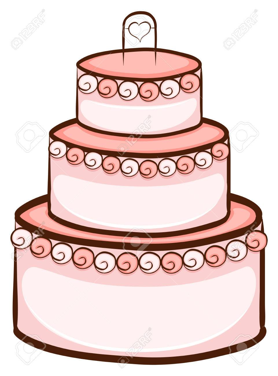961x1300 Illustration Of A Simple Drawing Of A Wedding Cake On A White