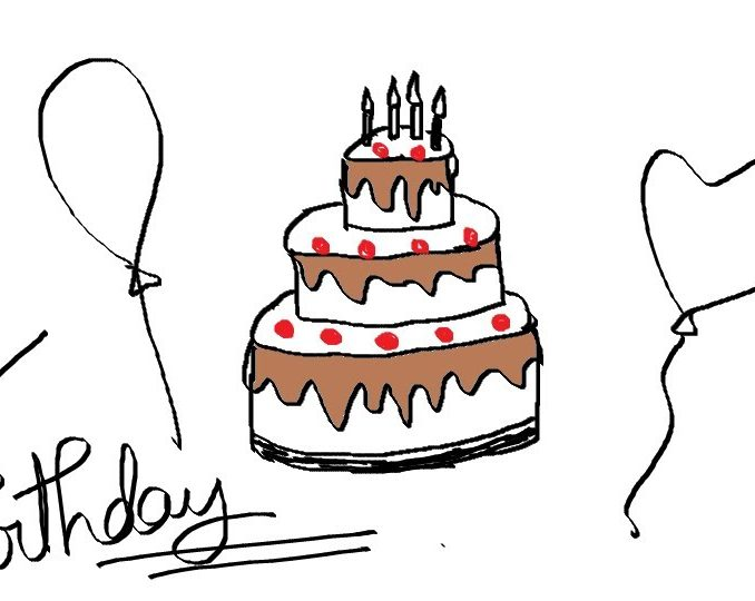 678x540 Simple Birthday Drawings Simple Birthday Cake Drawing Drawing