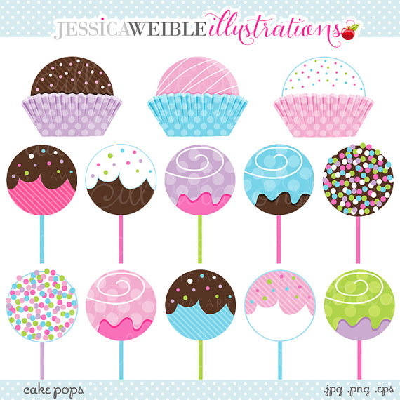 570x570 Cake Pops Cute Digital Clipart Commercial Use Ok Cute Cake