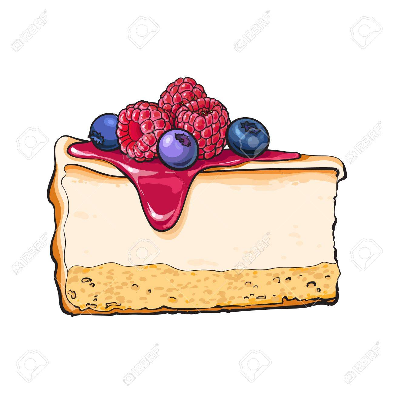 1300x1300 Hand Drawn Piece Of Cheesecake Decorated With Fresh Berries