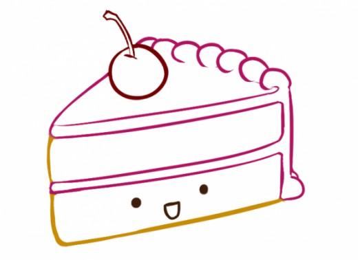 520x378 How To Draw A Kawaii (Cute) Cake Slice Feltmagnet