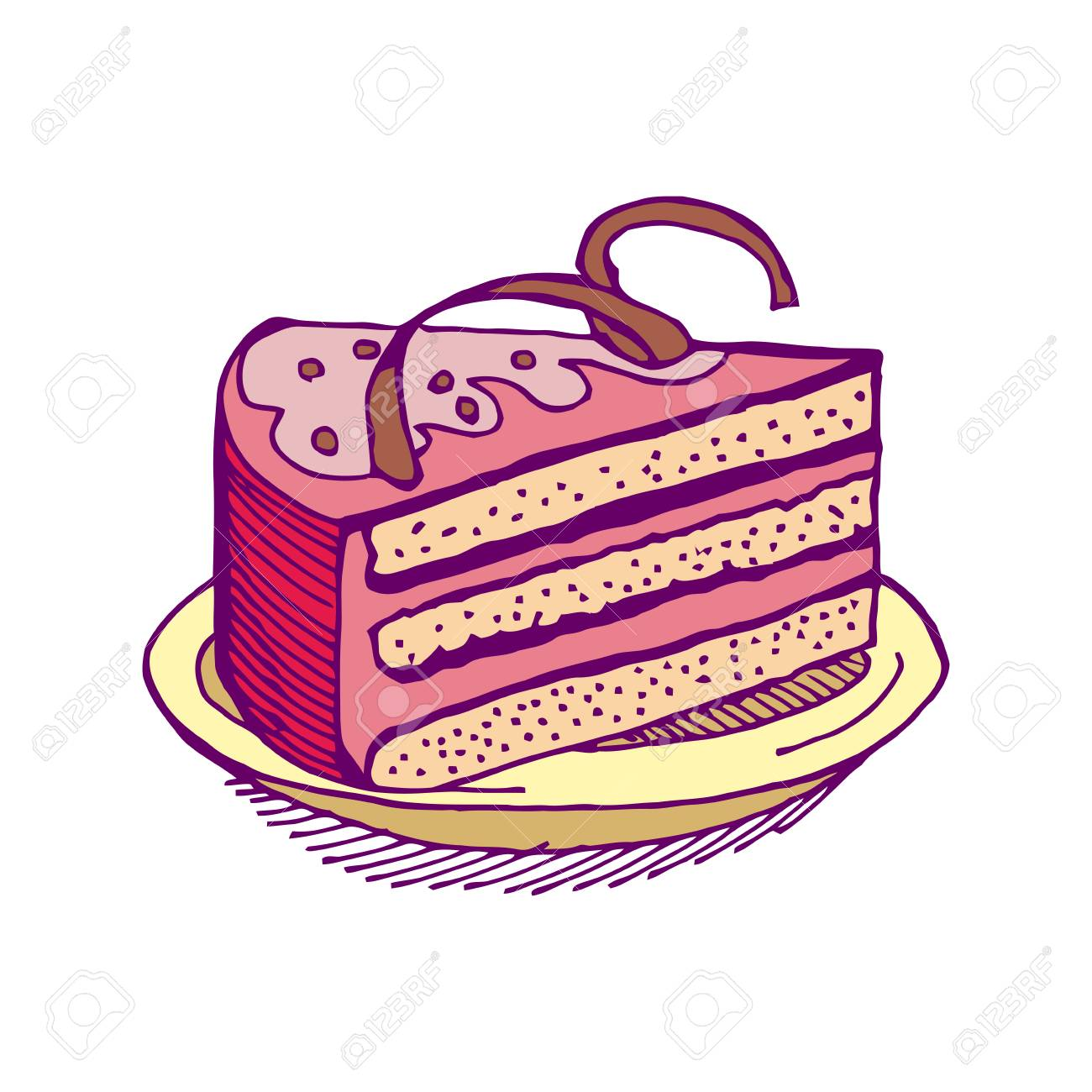 1300x1300 Piece Of Cake Hand Drawing Pie Isolated Dessert On White