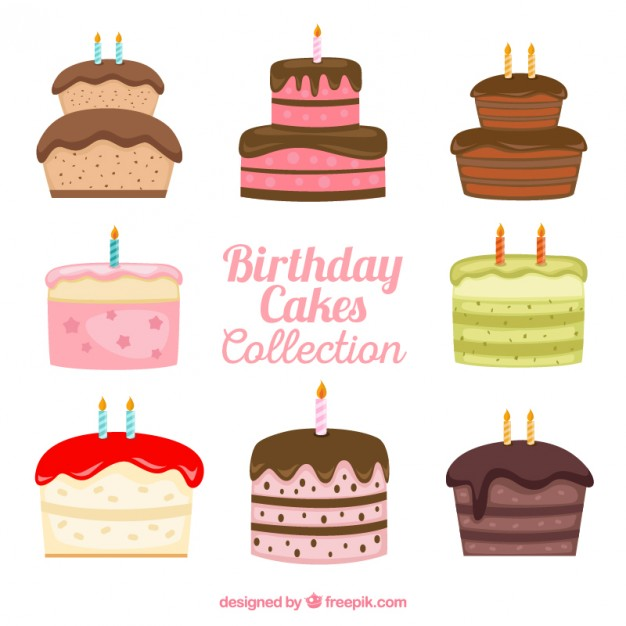 626x626 Hand Drawn Variety Of Birthday Cakes Vector Free Download
