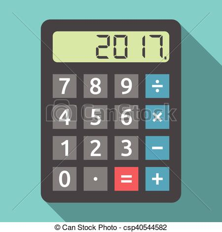 450x470 Calculator Showing 2017 Year. Digital Calculator Showing Vector